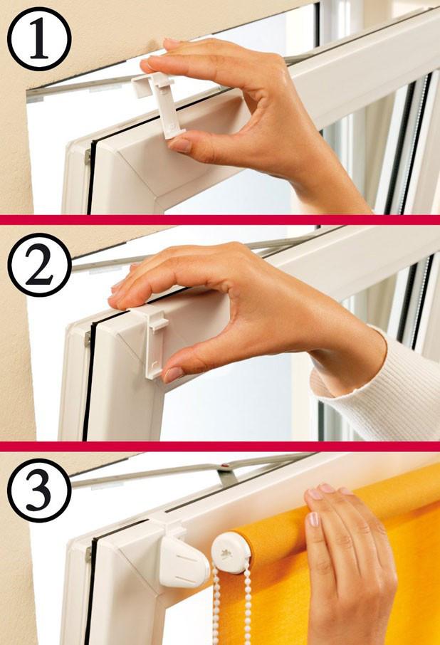как установить рулонные шторы при помощи Г-образных крючков